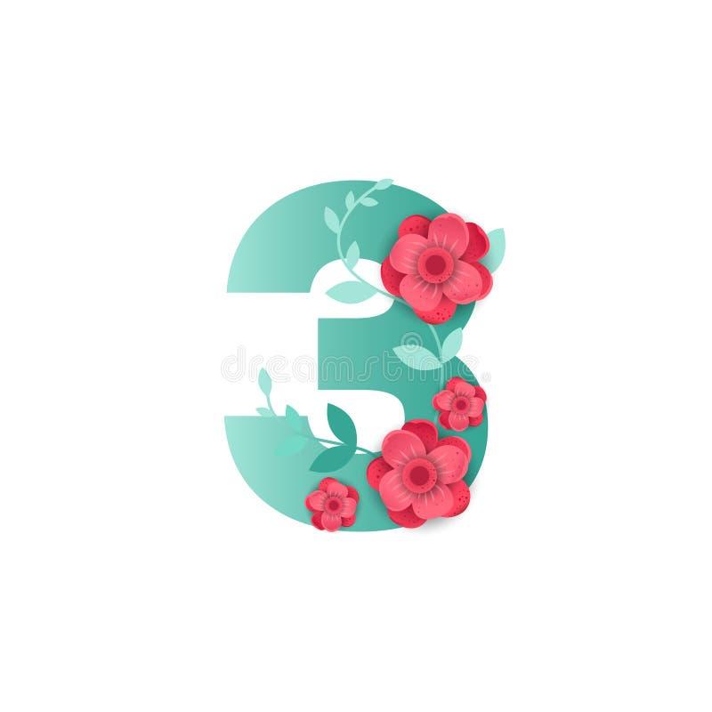 Color número 3 con las flores hermosas ilustración del vector