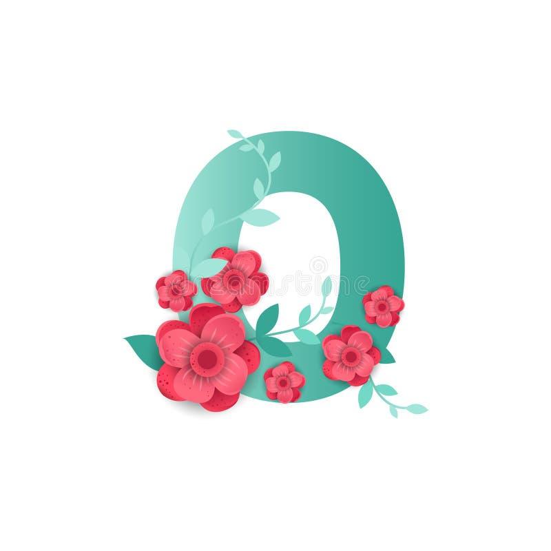 Color número 0 con las flores hermosas stock de ilustración