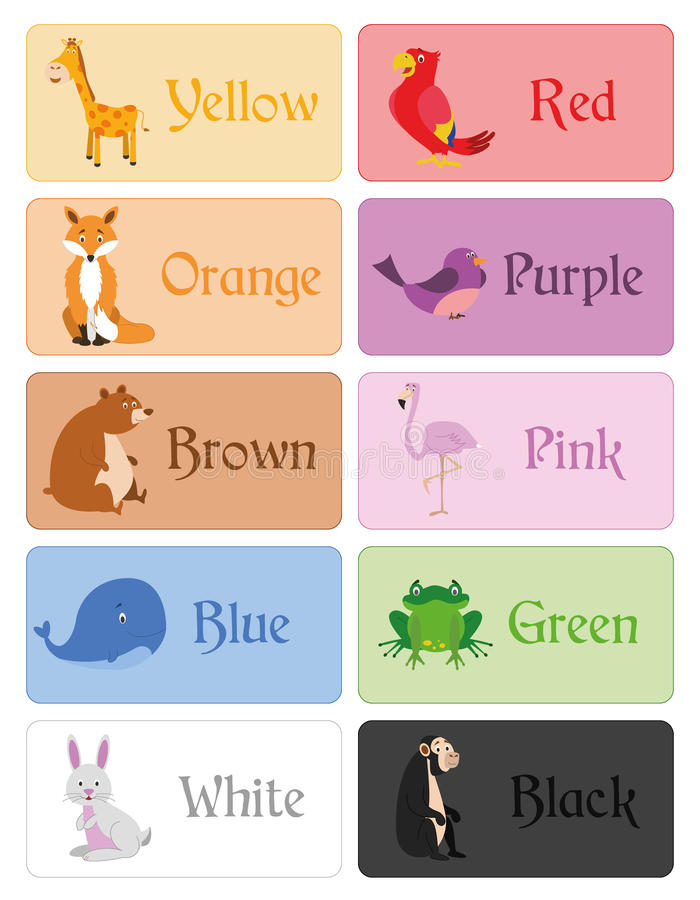 Color names vocabulary in english for primary education stock illustration