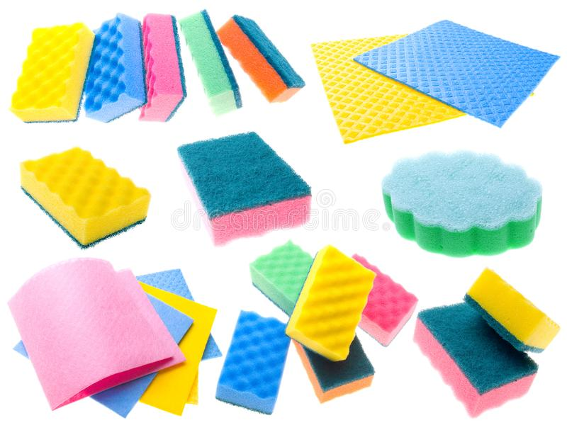 Color napkins and sponges royalty free stock images