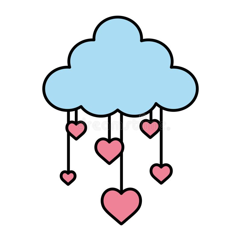 Color nature fluffy cloud and hanging hearts. Vector illustration stock illustration