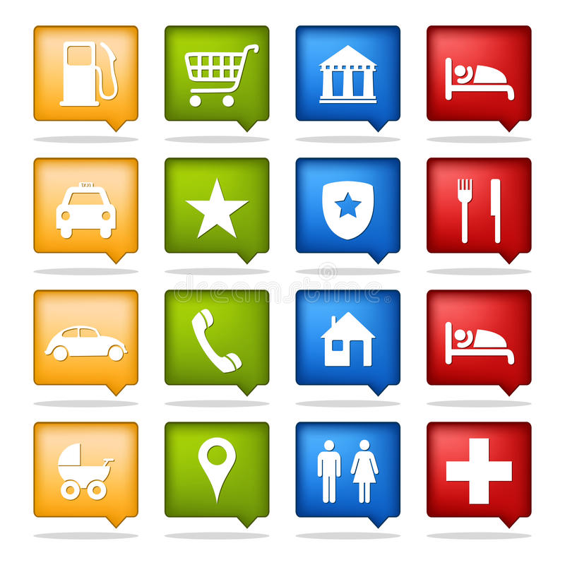 Color navigation icons. Set of 16 color tourism location icons stock illustration