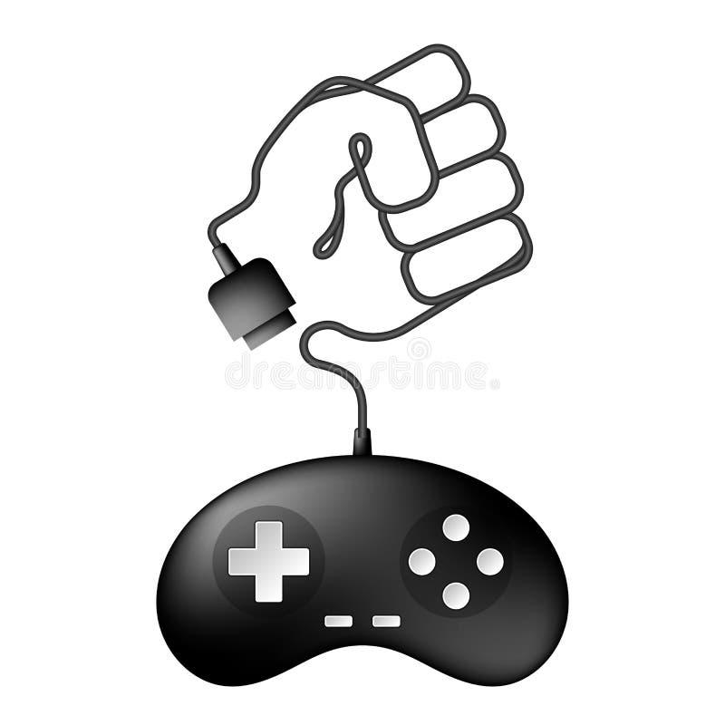 Color negro de Gamepad o del joypad y forma del puño que lucha hechos de diseño de cable stock de ilustración