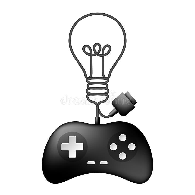 Color negro de Gamepad o del joypad y símbolo incandescente de la bombilla hechos de diseño de cable ilustración del vector