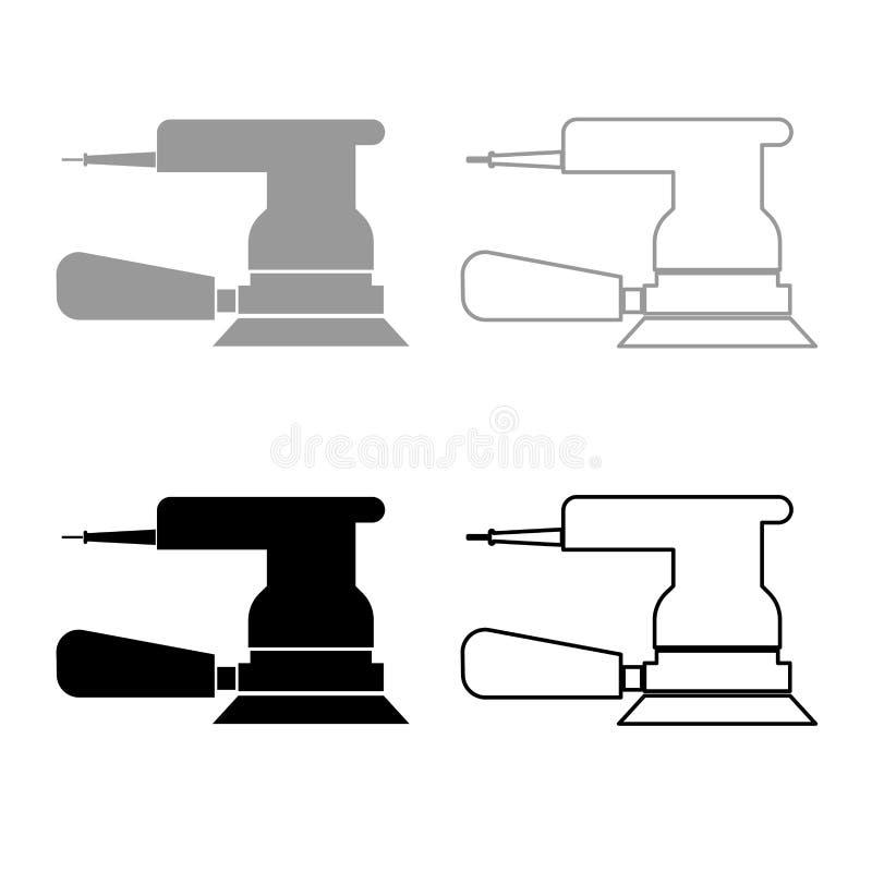 Color negro gris determinado de la amoladora del esquema excéntrico del icono stock de ilustración