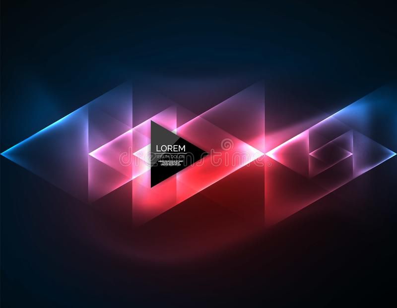 Color neon glowing triangles, abstract background royalty free illustration