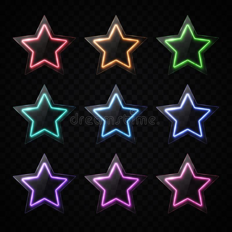 Color neon star shape banners set. Glowing led light stars with glass texture plate. Glossy infographics elements design vector illustration