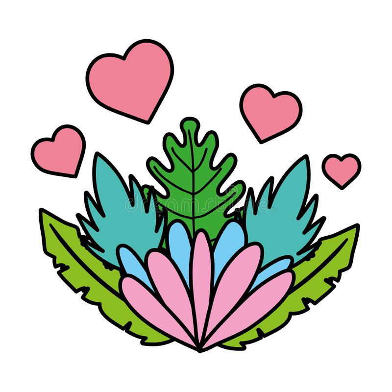 Color nice flower with hearts and exotic plant. Vector illustration royalty free illustration