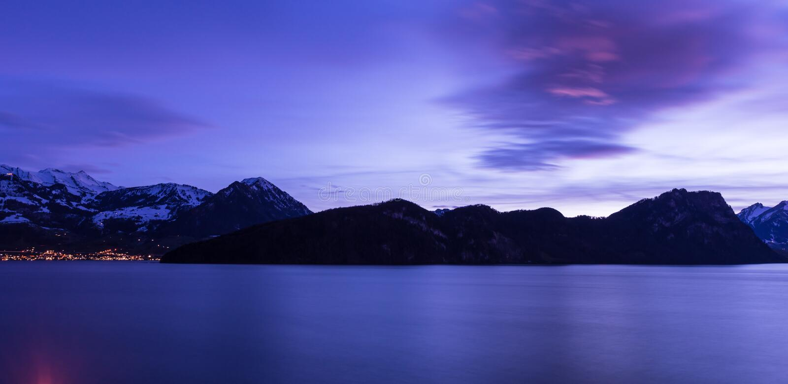 1The color of the night is Royal Blue. Lucerne Lake. Night panorama. Lake Lucerne. Swiss Alps. Long exposure abstract architecture background beautiful blue royalty free stock photography