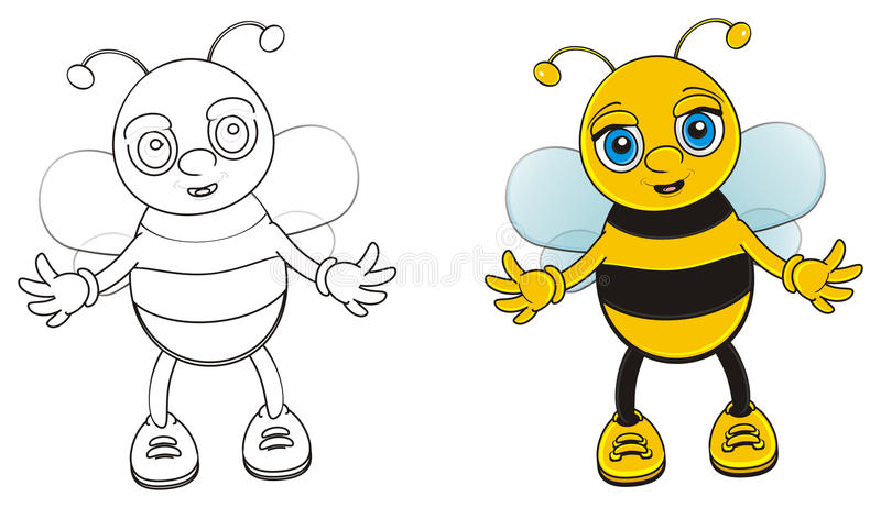 Color and not color bee stand together. Coloring bee with color bee stand on the white background vector illustration
