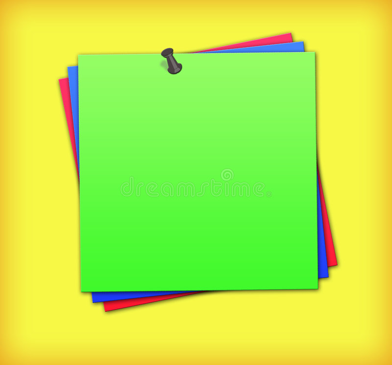 Color notes. Color remainder notes on yellow background with pin royalty free illustration