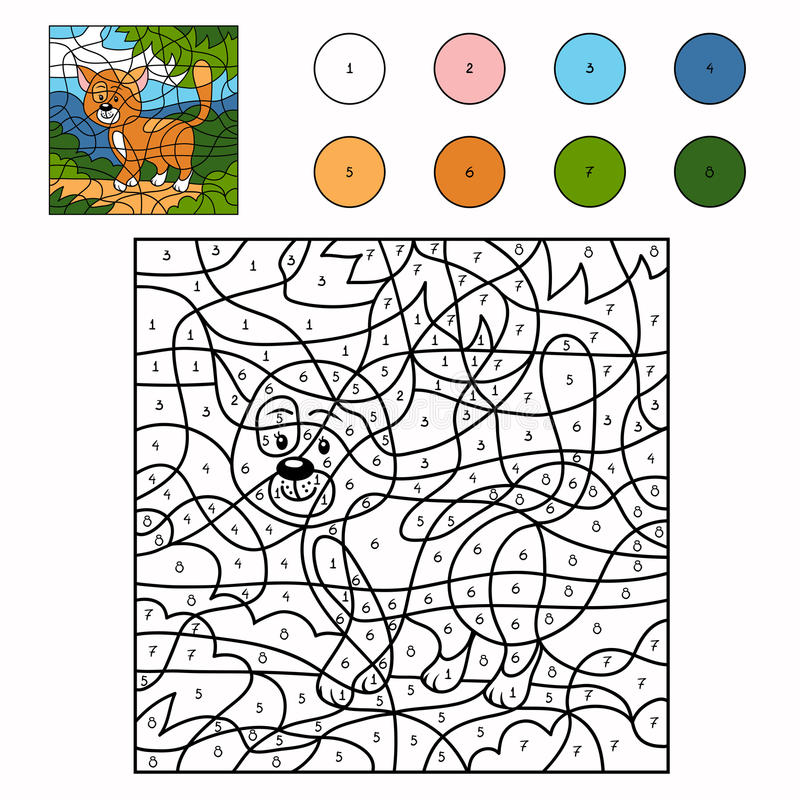 Color by number (cat). Color by number for children (cat stock illustration
