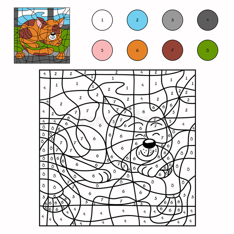 Color by number (cat) royalty free illustration