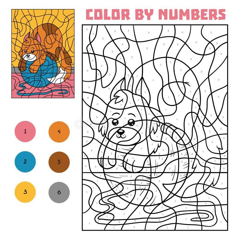 Color by number for children, Cat. Color by number, education game for children, Cat vector illustration