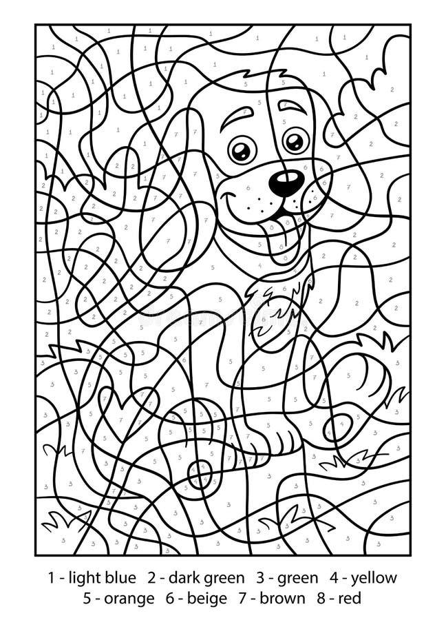 Color by number, Dog. Color by number for children, Dog royalty free illustration