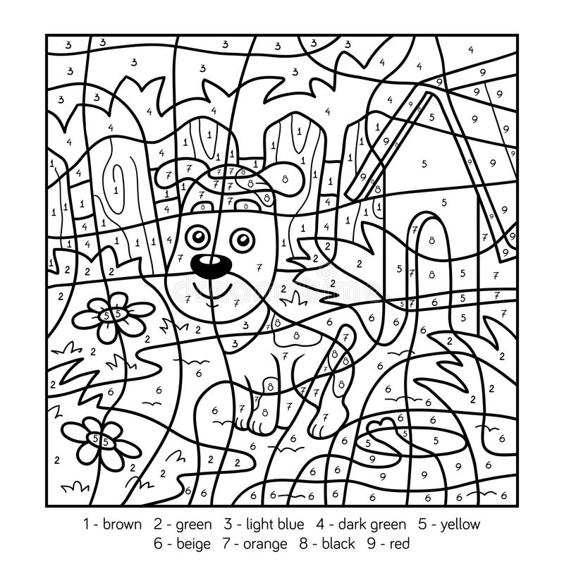 Cijfer Kleurplaat Boerderij Color By Number For Children With A Dog Stock Vector