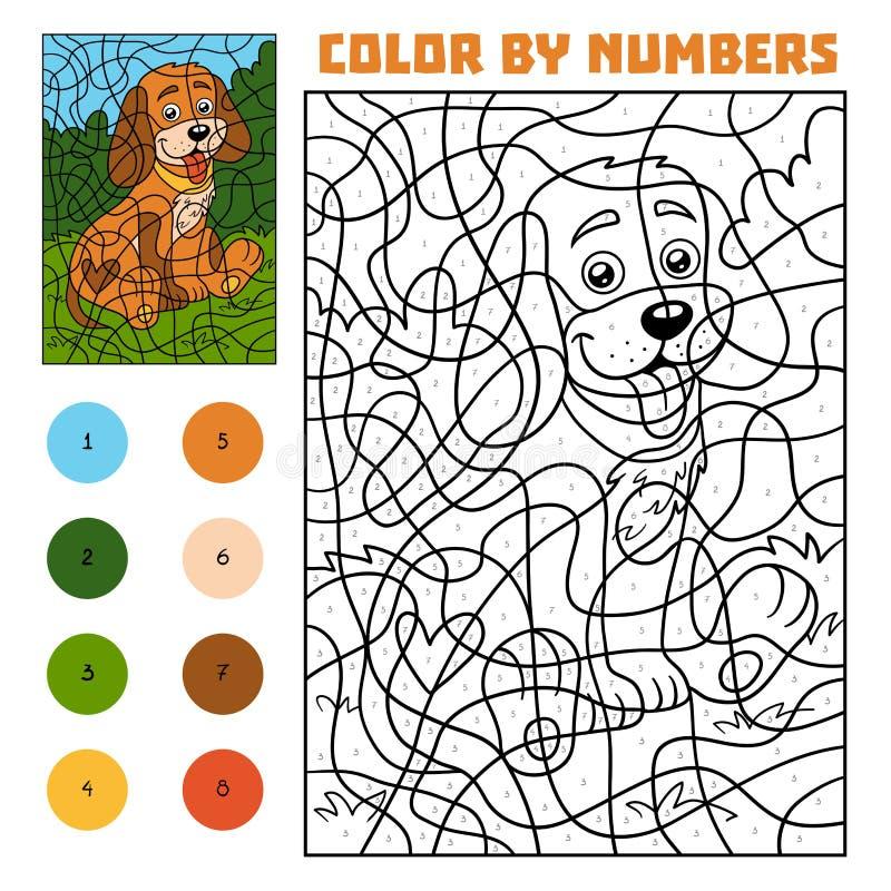 Color by number for children, Dog. Color by number, education game for children, Dog royalty free illustration