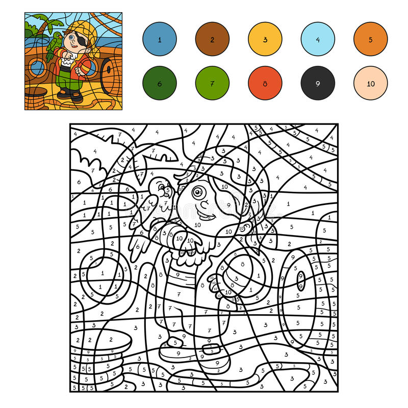 Color By Number For Children (pirate Boy And Parrot) Stock Vector ...