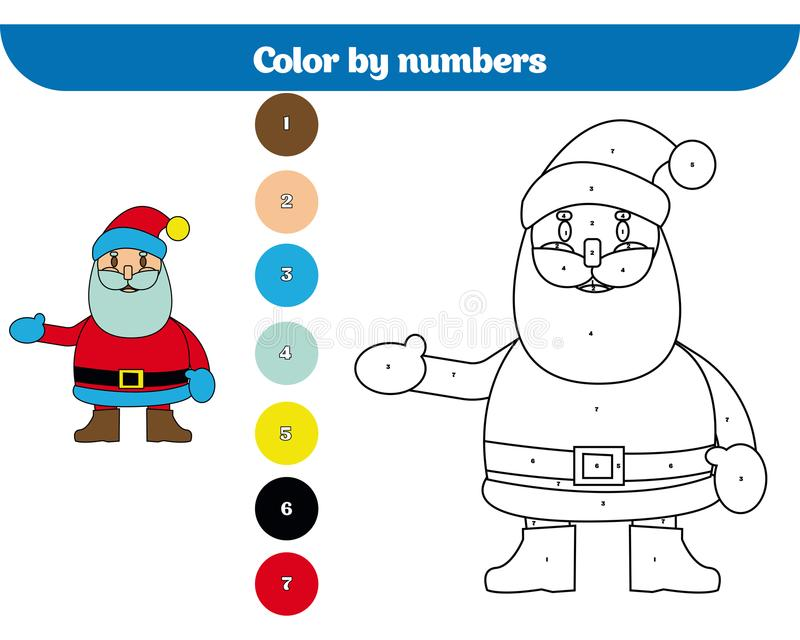 Color by number, education game for children. Coloring page, drawing kids activity. Christmas Xmas and New Year holidays design vector illustration