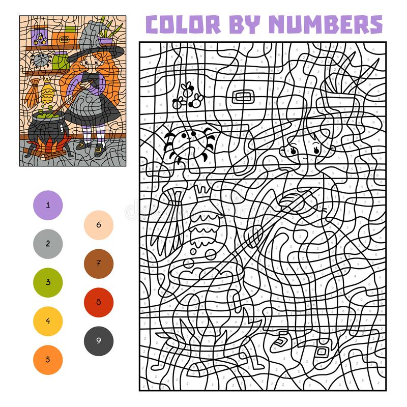 Color by number, education game, Witch and cauldron with magic potion royalty free illustration