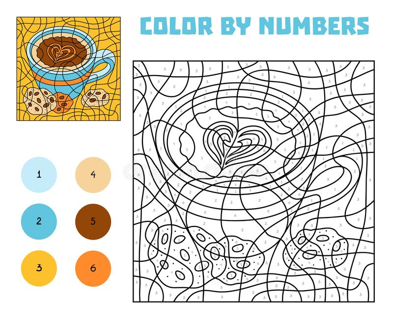 Color by number, education game. A cup of coffee with cookies royalty free illustration