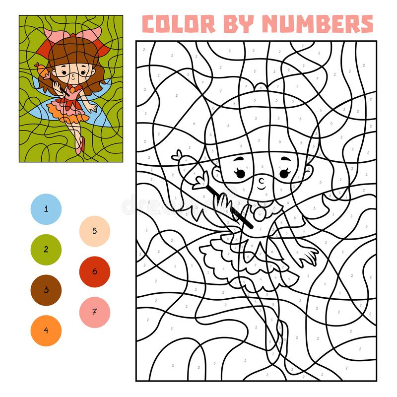 Color by number, education game, Fairy stock illustration