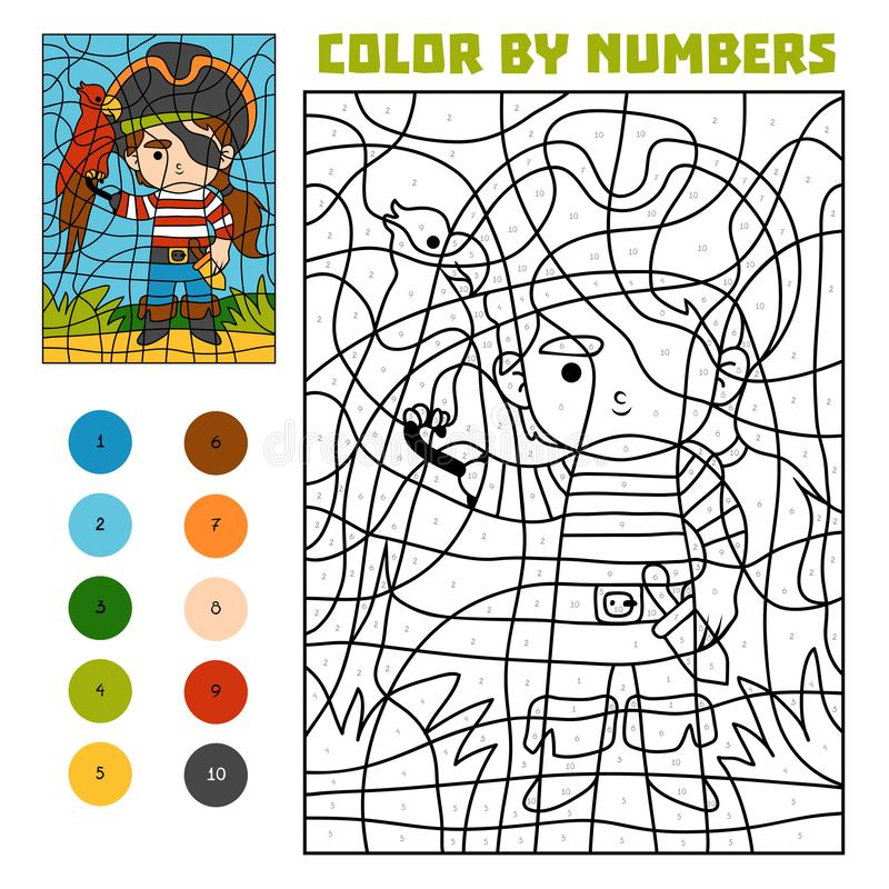 Color by number, education game, Pirate and parrot vector illustration