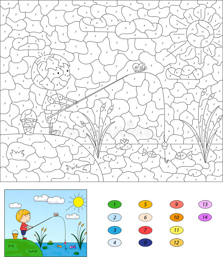 Color By Number Educational Game For Kids. Boy Fisherman With Fi ...