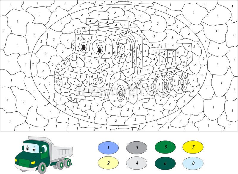 Color by number educational game for kids. Cartoon lorry. Vector illustration for schoolchild and preschool vector illustration