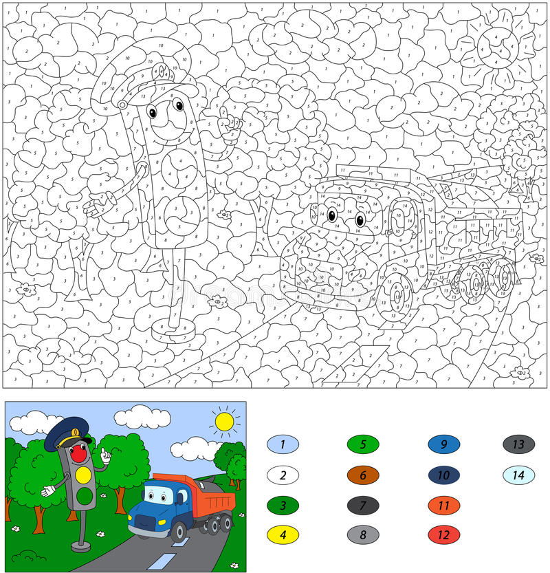 Color by number educational game for kids. Cartoon traffic light. And lorry. Vector illustration for schoolchild and preschool royalty free illustration