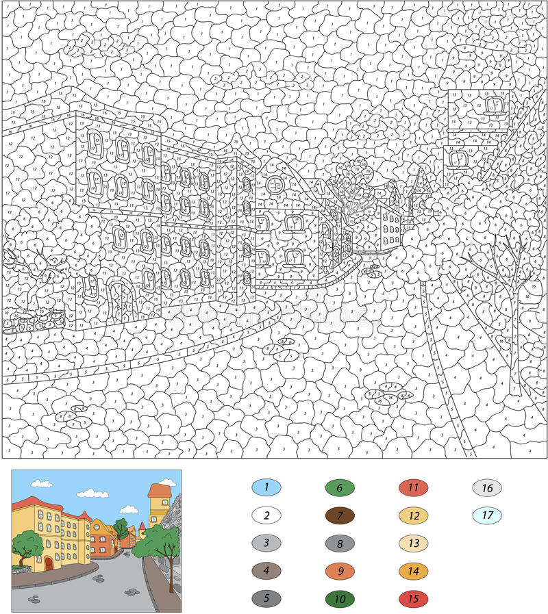 Color by number educational game for kids. Old town streets. Vector illustration royalty free illustration