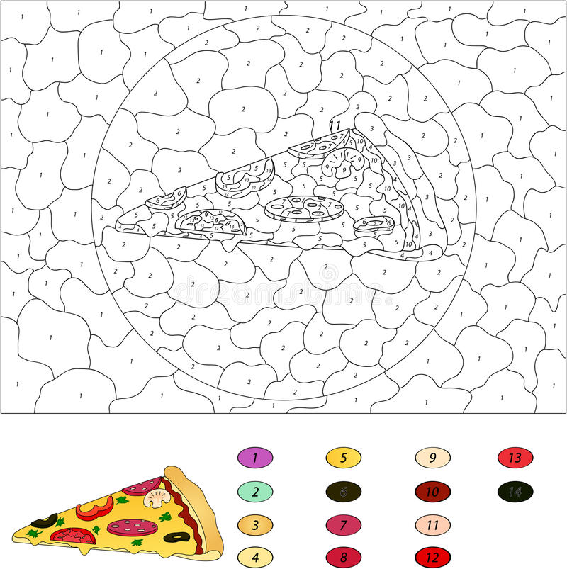 Color By Number Educational Game For Kids Pizza With Salami To