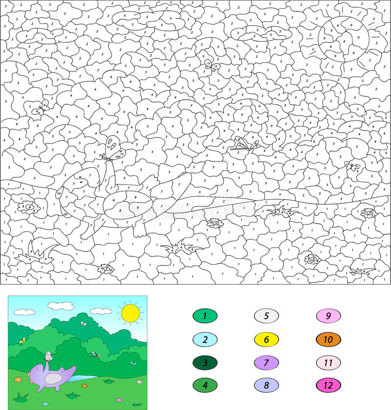 Color By Number Educational Game For Kids. Purple Dragon Playind ...