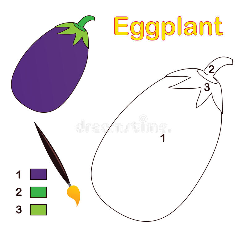 Download Color by number: eggplant stock vector. Illustration of preschool - 23760325