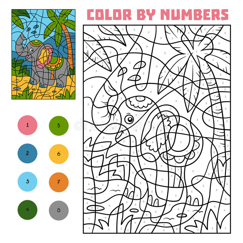 Color by number, Elephant. Color by number, education game for children, Elephant royalty free illustration