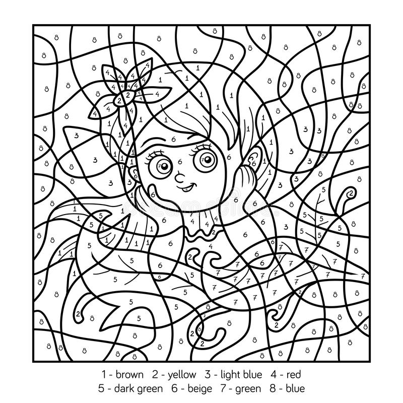 Color by number, fairy girl stock illustration