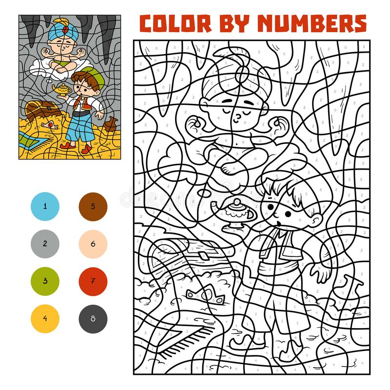 Color by number. Fairy tales. Aladdin and the genie in the treasure cave. Color by number, education game for children. Fairy tales. Aladdin and the genie in the vector illustration
