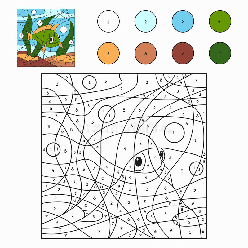 Color by number (fish). Color by number for children (fish vector illustration