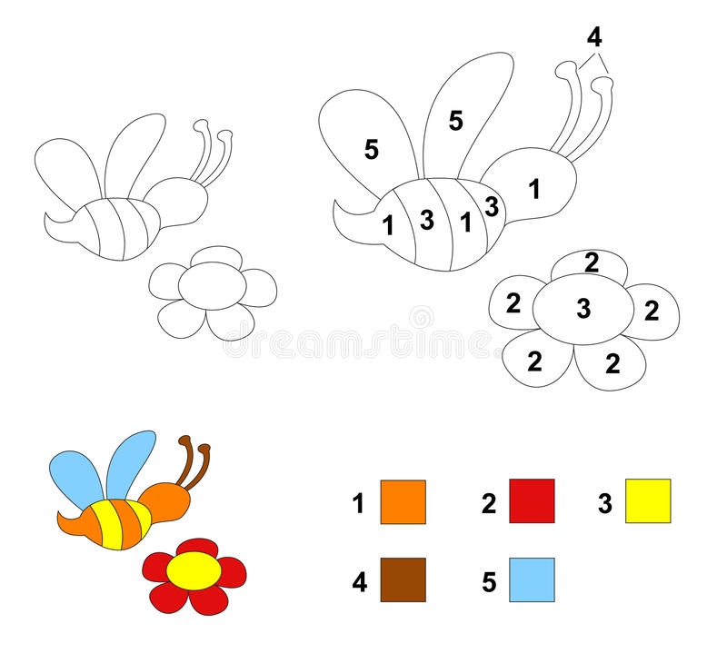 Color By Number Game: The Bee And Flower Stock Illustration ...