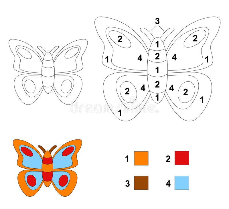 Color by number game: The butterfly royalty free illustration