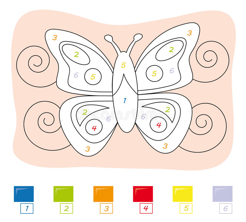 Color by number game: butterfly stock photo