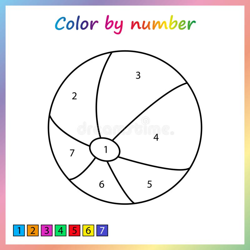 Worksheet for education. painting page, color by numbers. Game for preschool kids. royalty free illustration