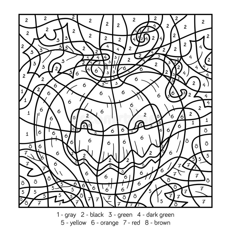 download color by number halloween pumpkin stock vector illustration of character color - Color By Numbers Halloween