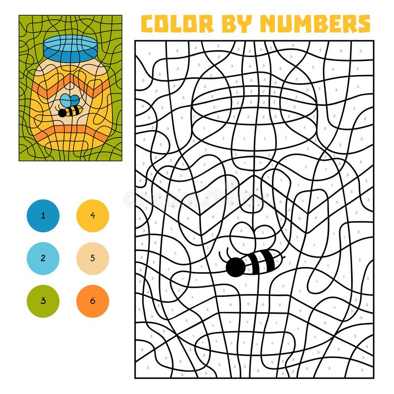 Color by number, Jar of honey royalty free illustration