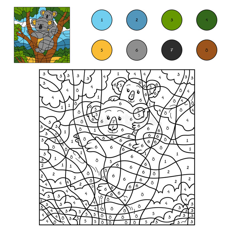 Color by number (koala family) royalty free illustration