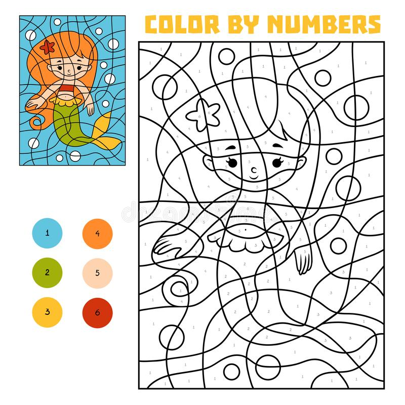 Color by number, Mermaid stock illustration