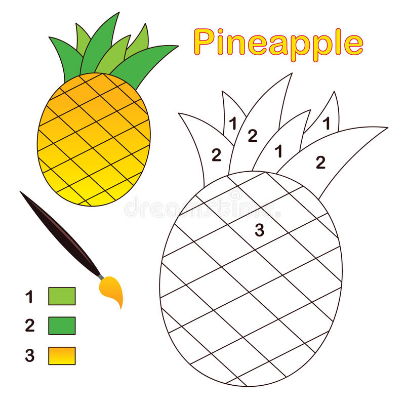 Color by number: pineapple. Color by number game with pineapple fruit. Eps file available royalty free illustration