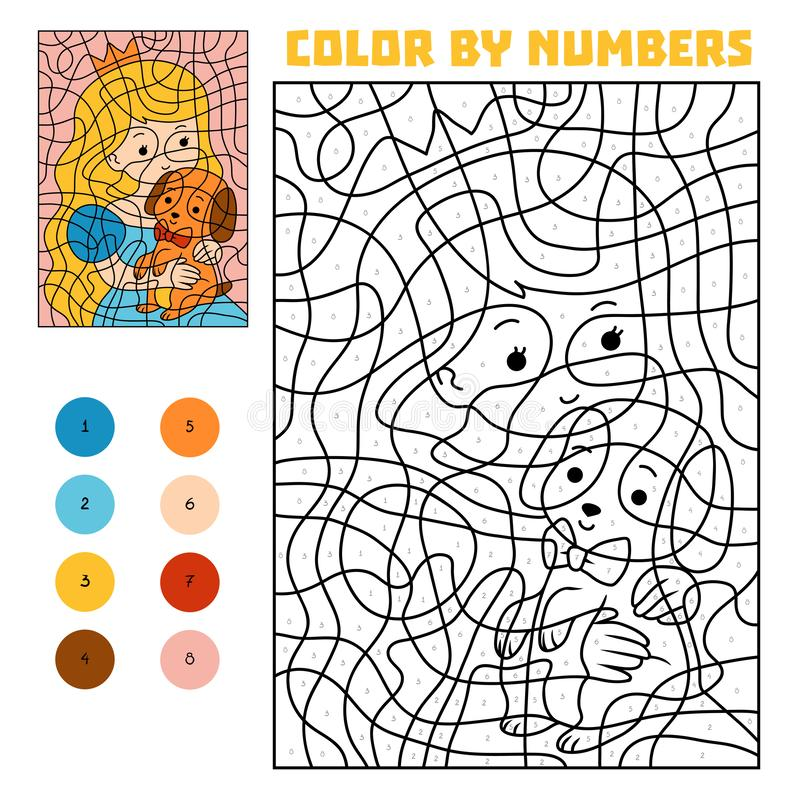 Color by number, Princess and dog. Color by number, education game for children, Princess and dog royalty free illustration