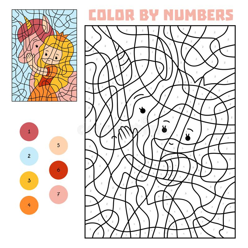 Color by number, Princess and unicorn stock illustration