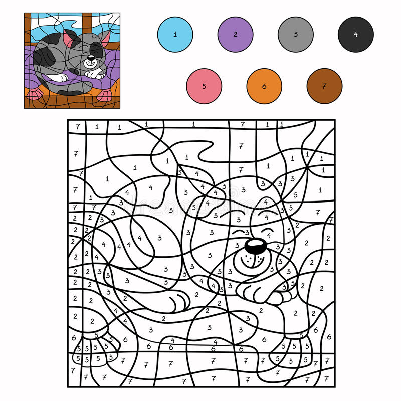 Color by number sleepy cat. Color by number for children (sleepy cat vector illustration